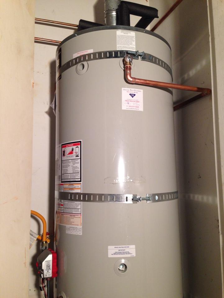 Newcastle, CA - 75 gal water heater. Newcastle plumbing. Newcastle