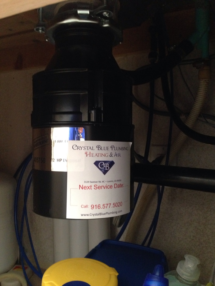 Gold River, CA - Garbage disposal replacement. Gold River plumbing. Gold River