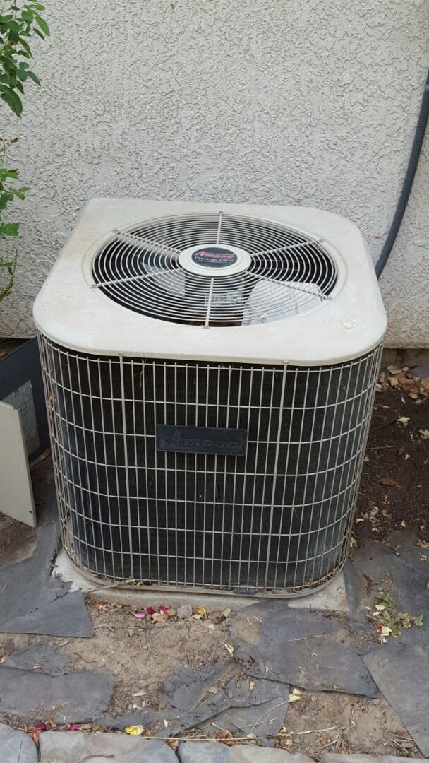 Antelope, CA - Antelope California HVAC repair A/C heating service Amana A\C split system replace condenser fan motor in Amana A/C condenser