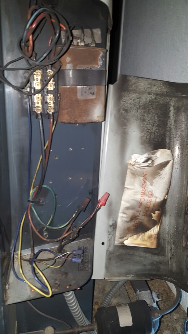 Antelope, CA - Antelope California AC heating service AC repair Trane AC condenser split system burnt / melted electrical wiring repaired wiring new wire connections