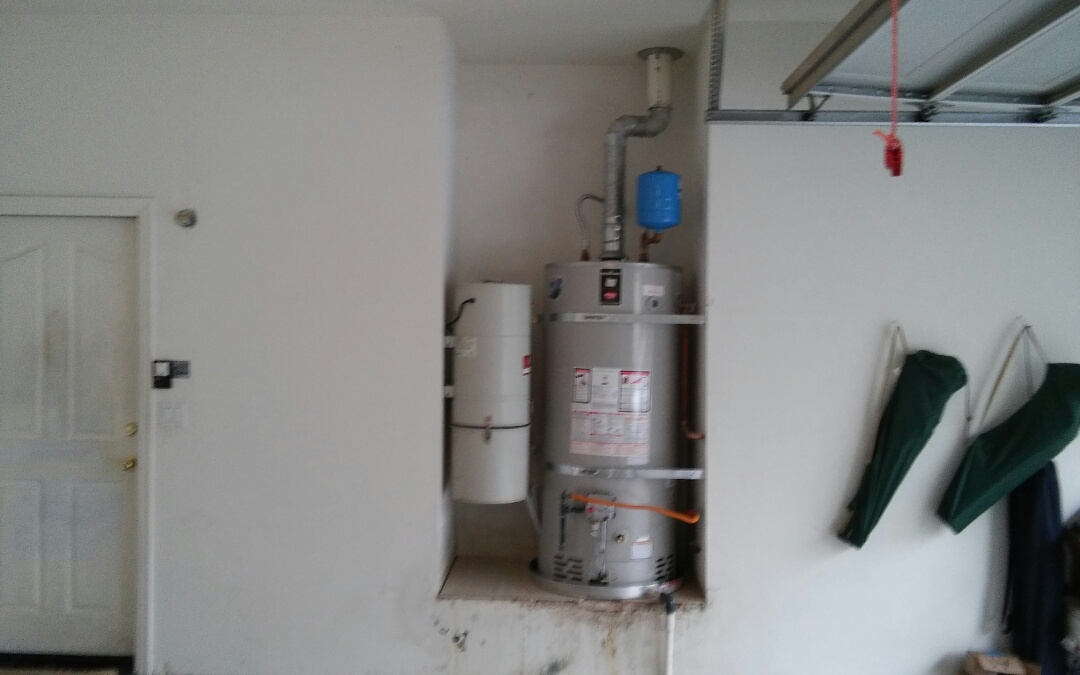 Auburn, CA - Auburn 75 g Nat gas water heater install at garage