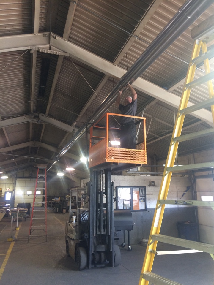 Aurora, IL - Installing new infrared 50' overhead gas heater