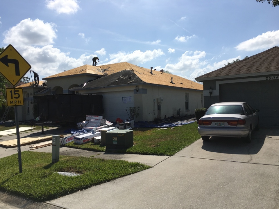 Zephyrhills, FL - Before this roof could leak and I need roof repairs in Wesley Chapel we put on a brand-new GAF timberline shingle roof.  We also replaced the flat roof on this house and some rotted wood.