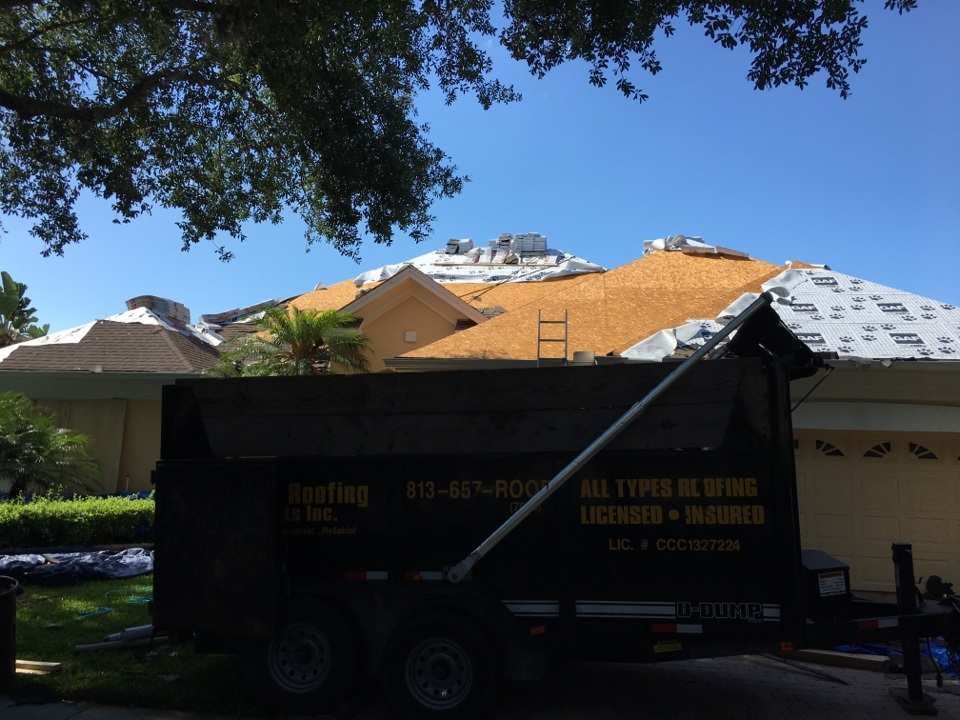 Valrico, FL - Reroofing Riverhills shingle roof. Leaking roof has new synthetic underlayment and lifetime shingles. Best Tampa roofers working in Riverhills Florida