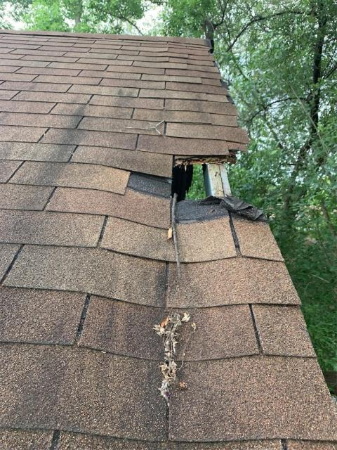 Austin, TX - Roof inspection for storm damage in Austin Texas. Free inspection and recommendation provided to client. Repairs to be completed shortly. Tree damage caused on roof, damage under insurance deductible for possible claim.