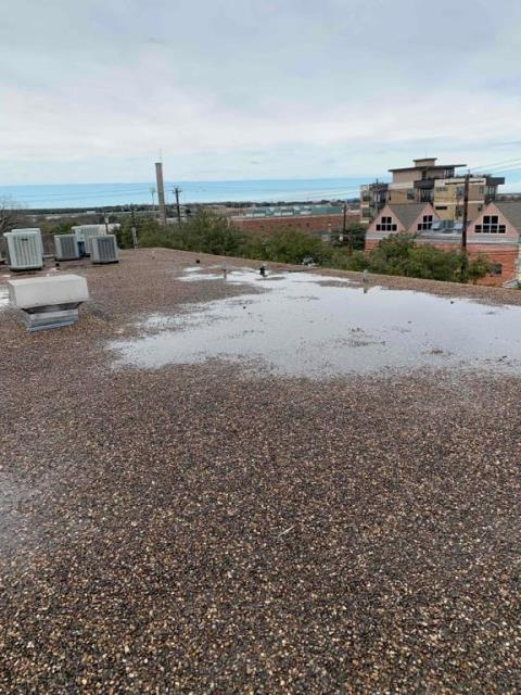 Georgetown, TX - Roof inspection for active leak on commercial property and commercial building. Commercial Roof repair recommended to client.