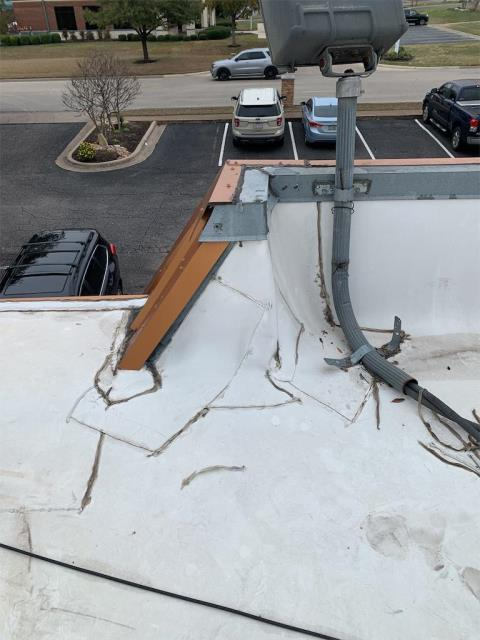 Temple, TX - Roof inspection on commercial building in Temple Texas. Active leak identified and repair recommended. Maintenance provided for commercial property.
