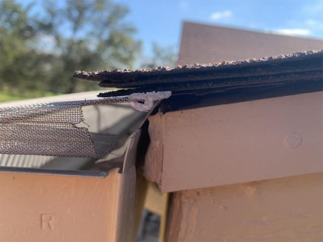 Georgetown, TX - Roof repair complete for client. Active leak over screened patio and no longer leaking.