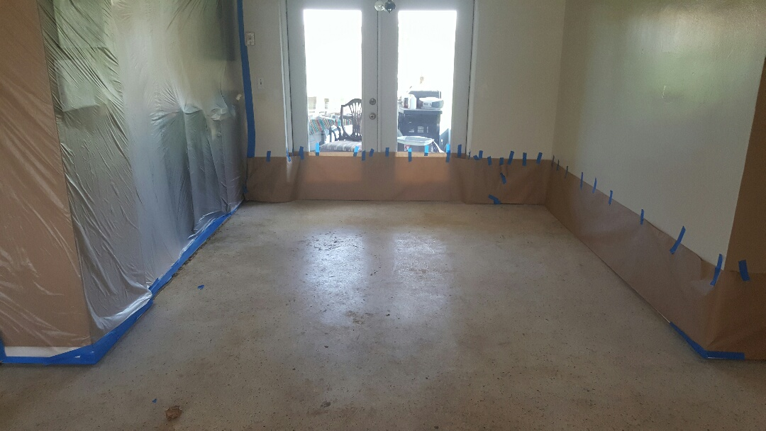 Day one of grinding terrazzo  floor