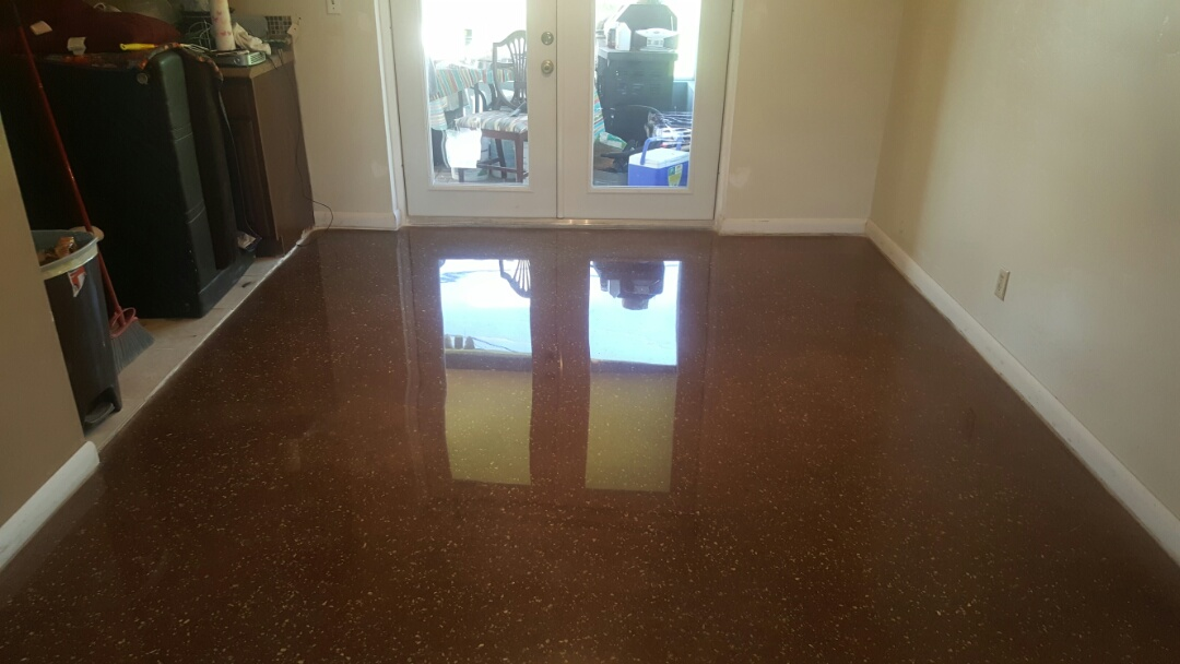 Just finished with the customer house it was grinf�d and polish of terrazzo  and adding of a color