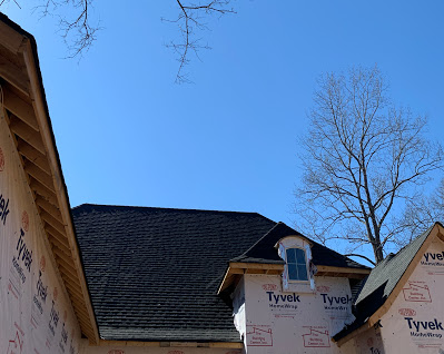 "Fort Mill, SC - GAF ""Weather Watch "" Leak Barrier, ""Felt Buster"" Deck Protection, topped with GAF ""Timberline"" High Definition Architectural Shingles.  Don't forget GAF ""Cobra 3"" Hip & Ridge Vent-promotes air flow in the attice area preventing the roof from aging too fast."
