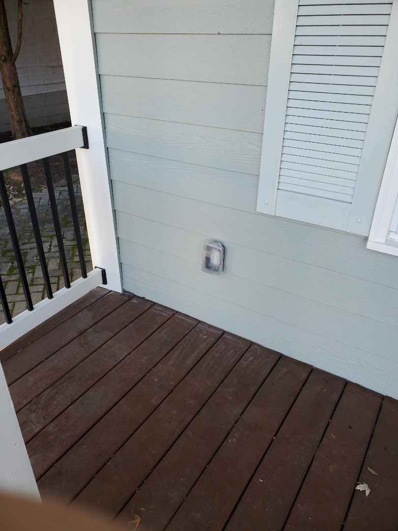 Atlanta, GA - Put in an outdoor receptacle for a customer on their front porch, so they could install some Christmas lights.