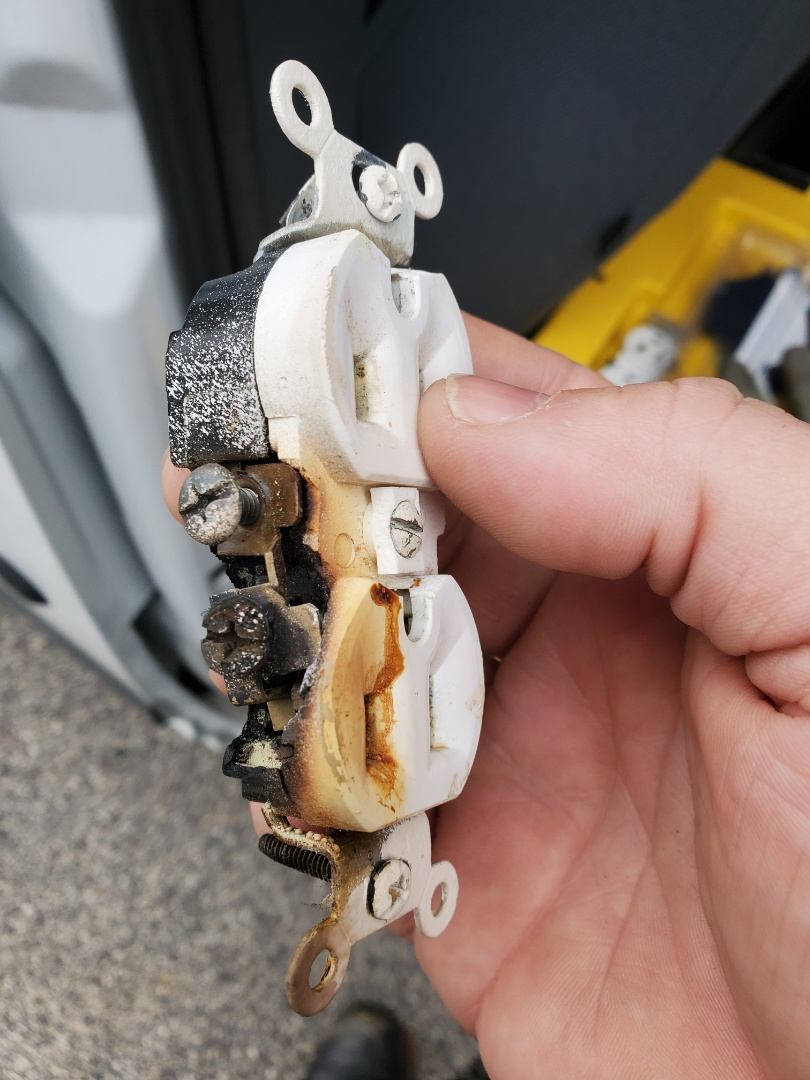 Sharpsburg, GA - Replaced a receptacle on a customer space heater had burnt up. These need to be on 20 amp circuits not 15s.