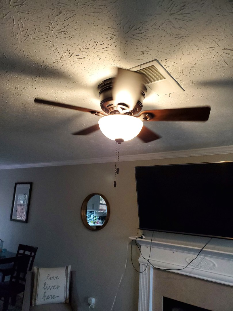 McDonough, GA - Installed a flush mount ceiling fan for a customer in their living room.