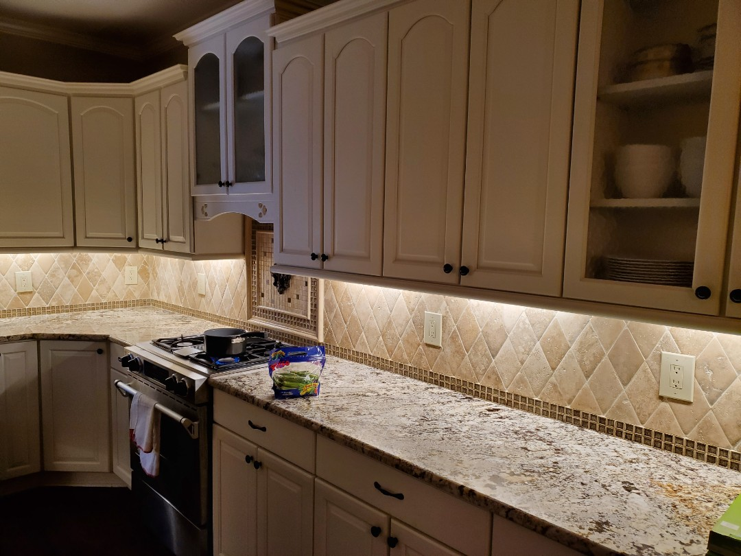 Fayetteville, GA - Just installed some under cabinet lighting for a customer on a dimmer switch in their kitchen.