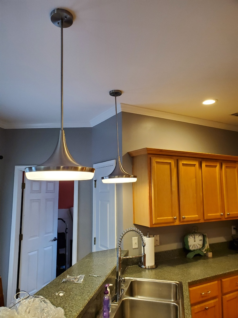 Sharpsburg, GA - Install a light fixture for a customer, who's putting her house on the market.