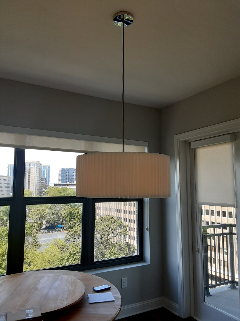 Atlanta, GA - Installed a large pendant light over a dining room table.