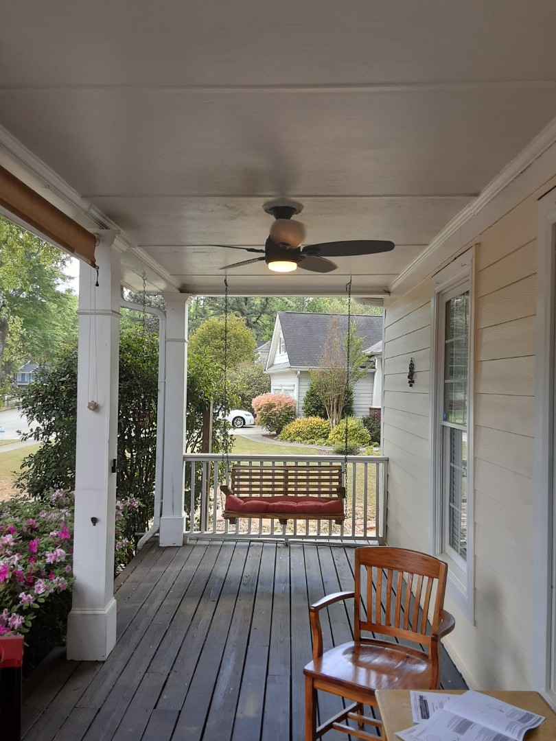 Fayetteville, GA - Installed some fans on a front porch.