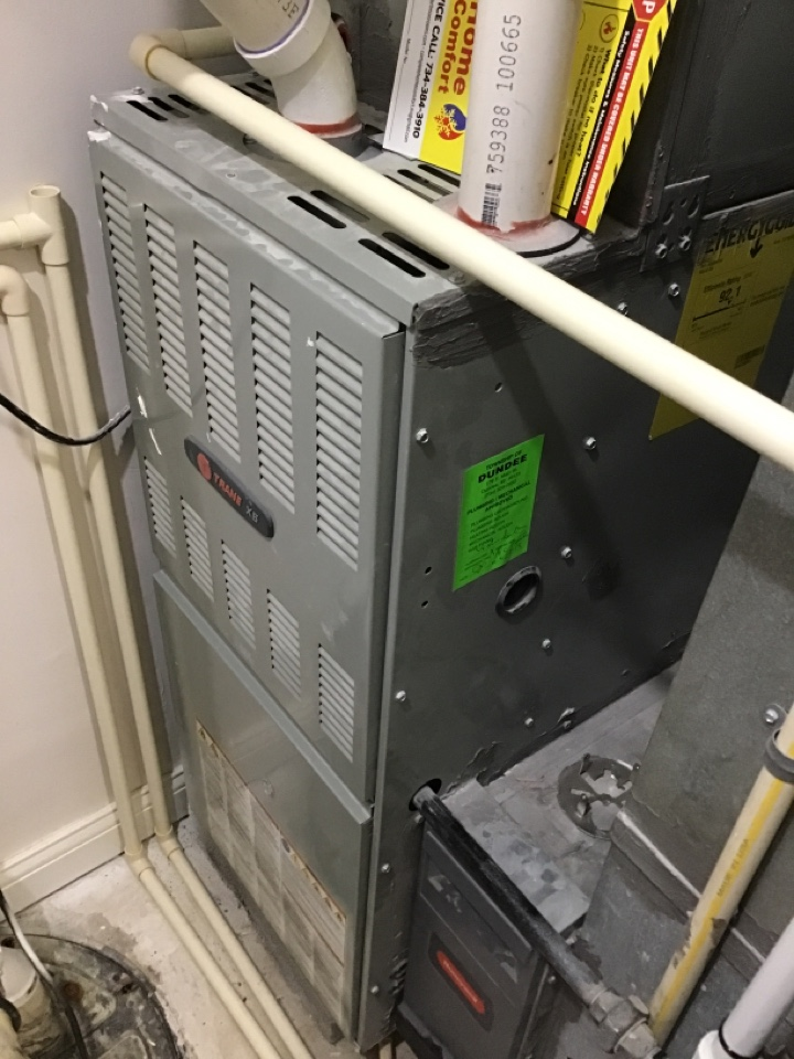 Petersburg, MI - Heating repair on a trane furnace.