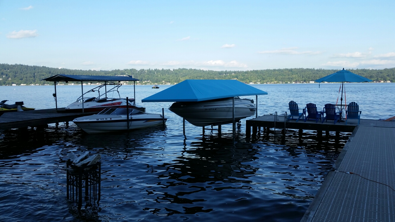 King county awnings eastside tent awning for Boat lift motors near me