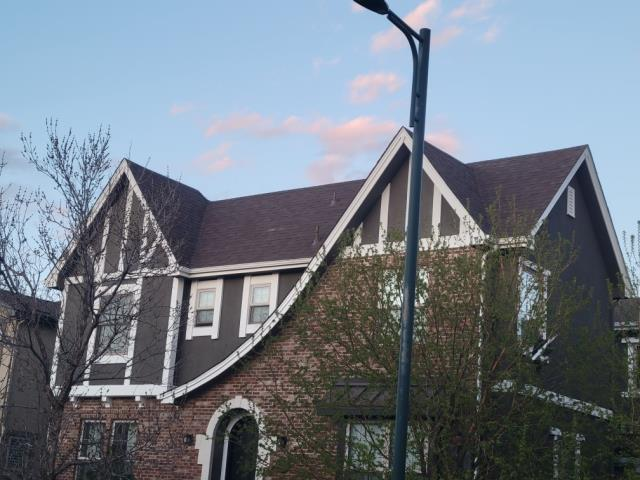 Denver, CO - Completed a very steep re-roof, some parts being 12/12 pitch in the Lowry area of Denver. Installed the Malarkey Legacy impact resistant class 4 asphalt shingle in the color heather.