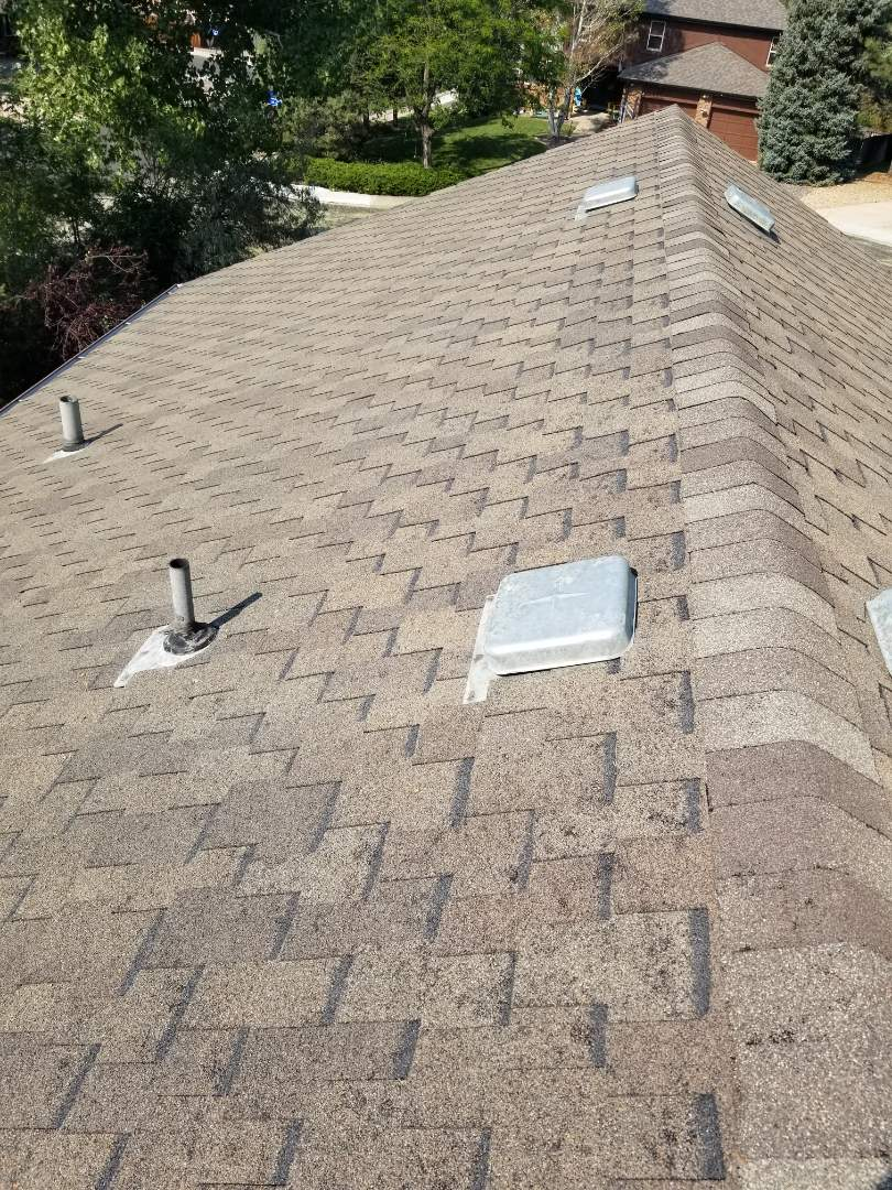 Centennial, CO - Found a lot of hail damage on GAF Grand Sequoia impact resistant shingle. We will be replacing this asphalt shingle roof.