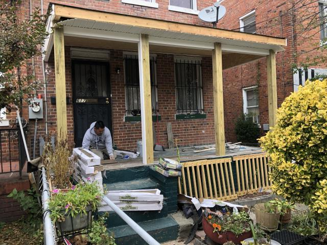 Washington, DC - New front  porch being install with roof