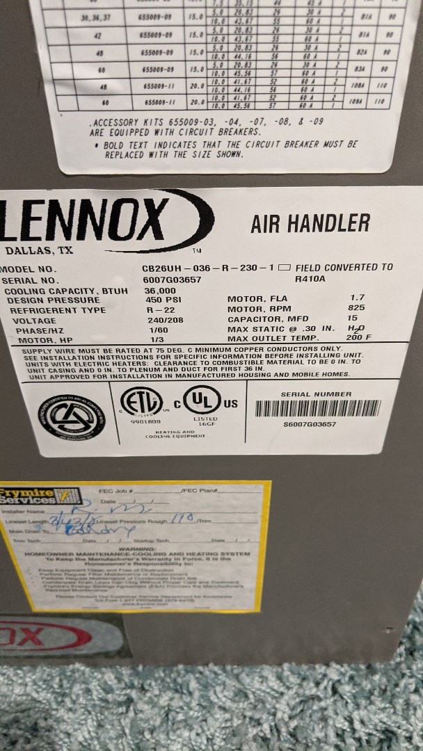 Denton, TX - Heating maintenance on Lennox R22 heat pump system.
