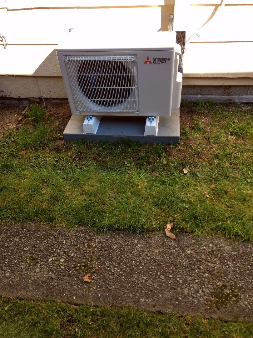 Mitsubishi ductless heat pump installation