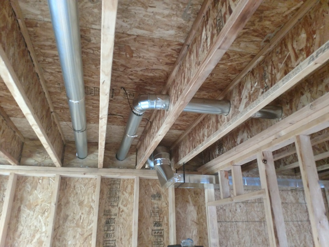 Installed ductwork on a new construction.
