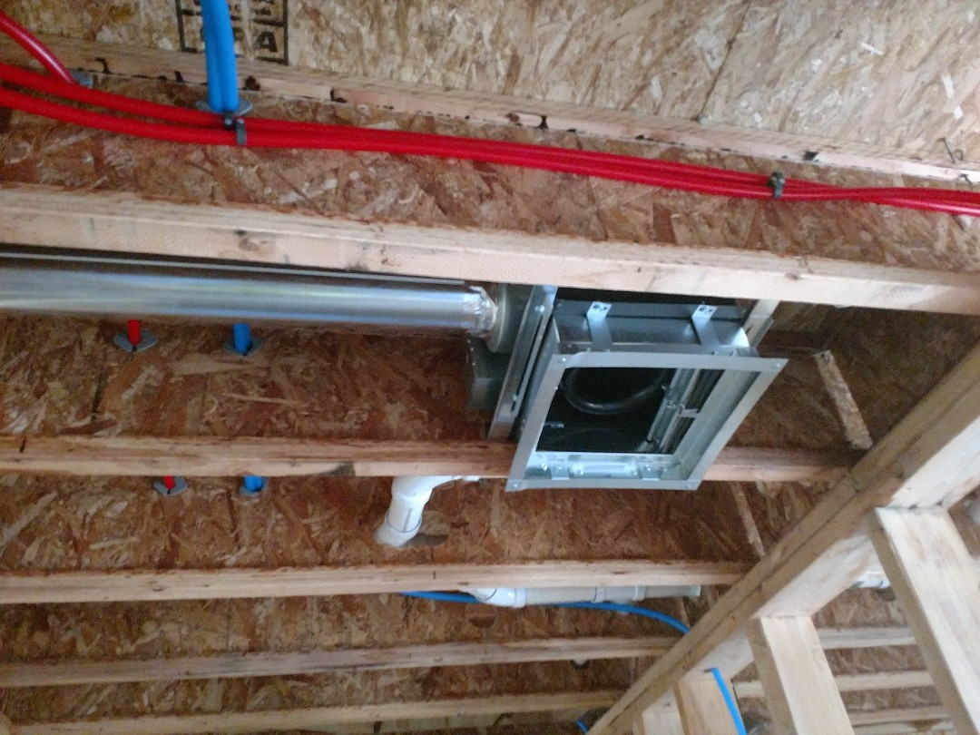 Installed bathroom fans on a new construction.