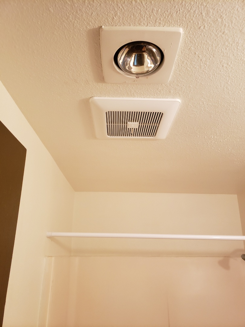 Lakewood, WA - Installed new Panasonic fan keeping inline with the existing light. Installed new humidity sensor as well.