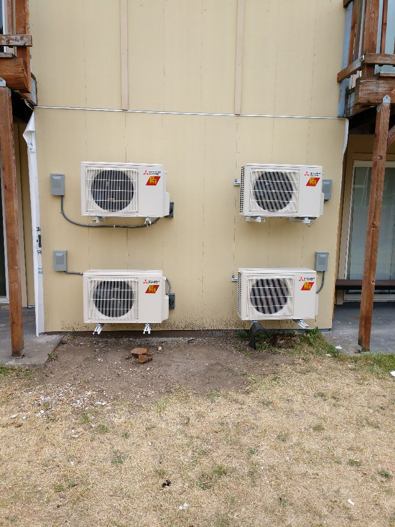Tacoma, WA - Install of Mitsubishi ductless heat pumps in multi-unit apartment complex