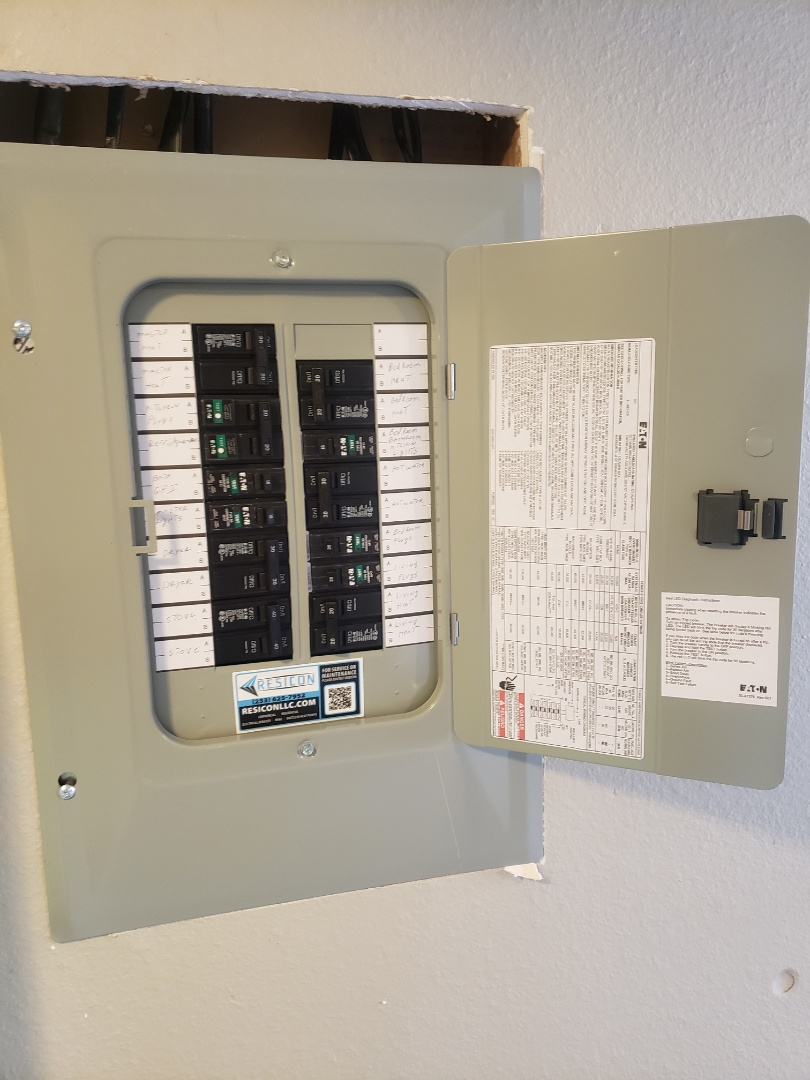 Lakewood, WA - Completed panel for apt N2 eaton panel and circuit breakers