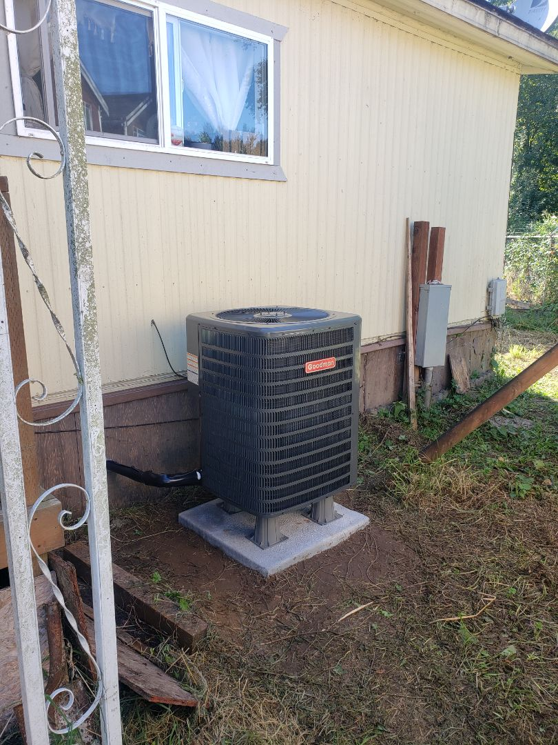 Federal Way, WA - Goodman heat pump add on to existing electric furnace in mobile home
