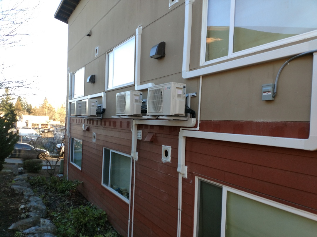 Burien, WA - Installed Mitsubishi Ductless Heat Pumps to provide energy efficient temperature control for every home.