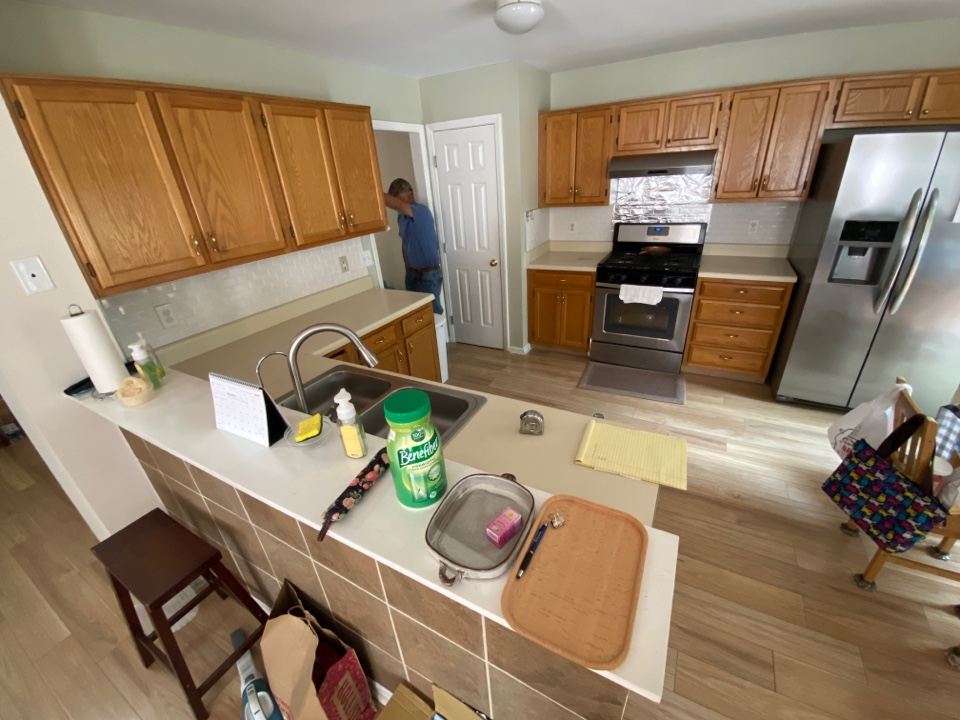 Cary, NC - Existing countertops being replaced with new quartz countertops with backsplash