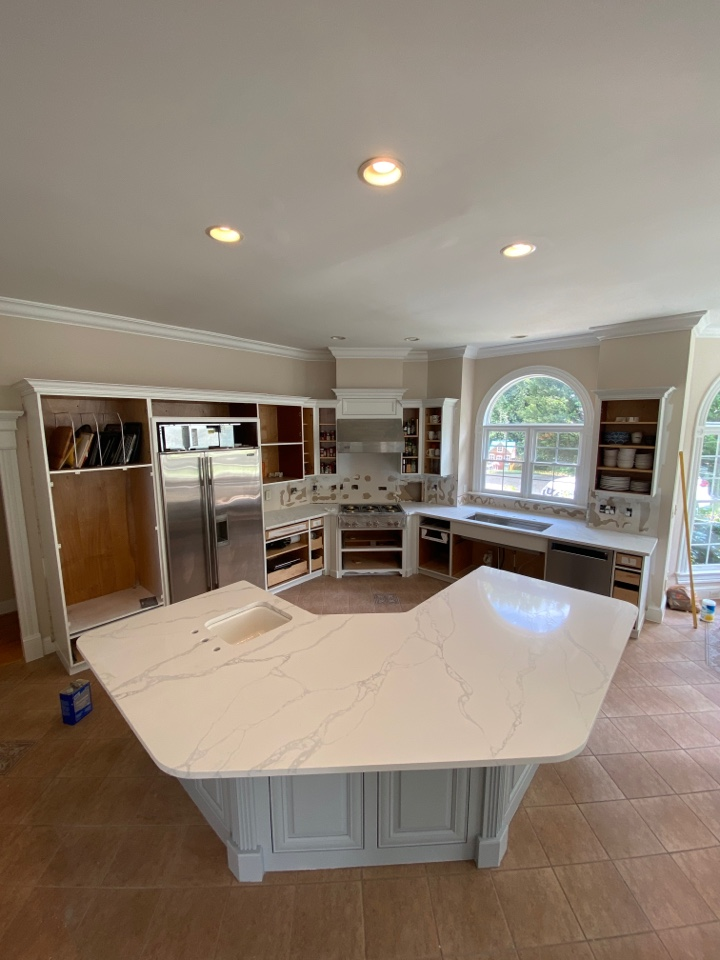 Wake Forest, NC - Installed new quartz countertops for client with custom angles