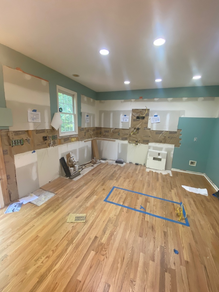 Renovating clients kitchen with new cabinets and countertops