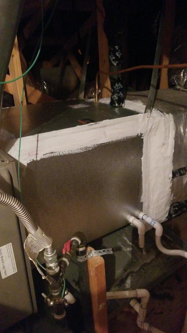 Frisco, TX - AC service call. Preformed evaporator coil installation on York system.