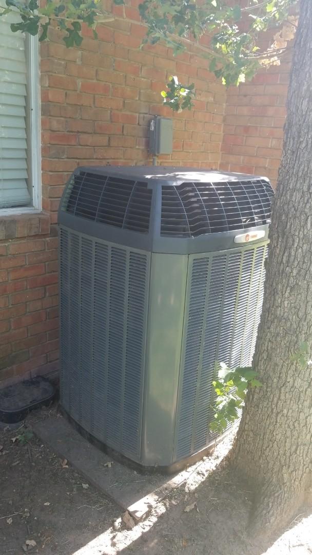 Argyle, TX - AC service call. Air conditioning repair on Trane unit.