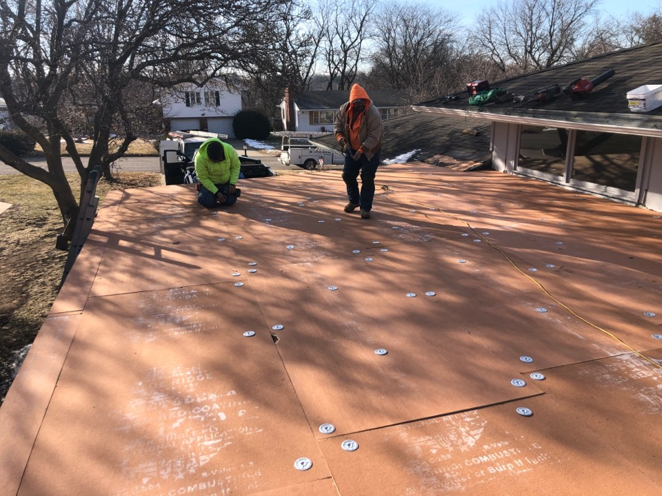 Saint Joseph, MO - Another job in progress in St. Joe.  For all your roofing needs make sure to call Easton Roofing 913-257-5426