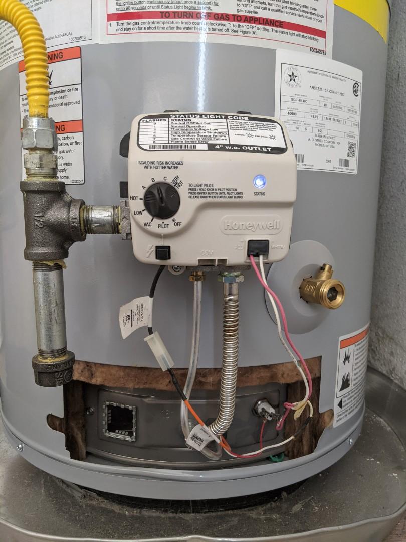 Atascadero, CA - Repaired a non working A O Smith 40 gallon natural gas water heater.  Replacement of failed Honeywell valve control valve in Atascadero.