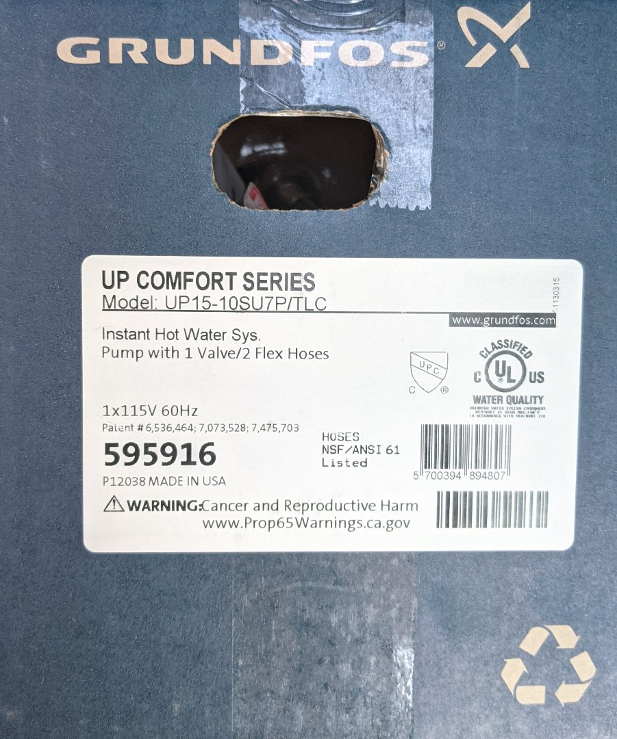Paso Robles, CA - Installed a Grundfos comfort series recirculation pump on an electric water heater without a return line to expedite hot water delivery in Paso Robles.