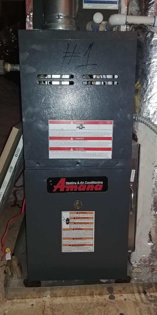Alpharetta, GA - Performed fall tune up on Amana 90 % furnace at Alpharetta Ga