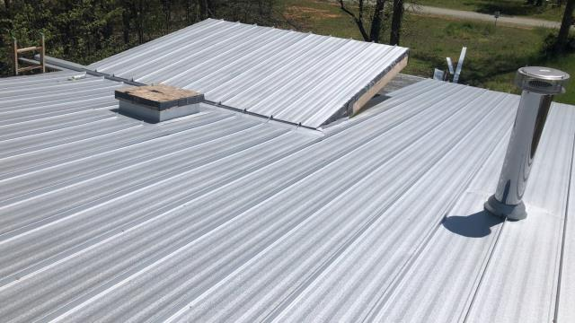 Franklinville, NC - Tiny Home. Internal Gutter. Galvalume Standing Seam. Custom Metal Work