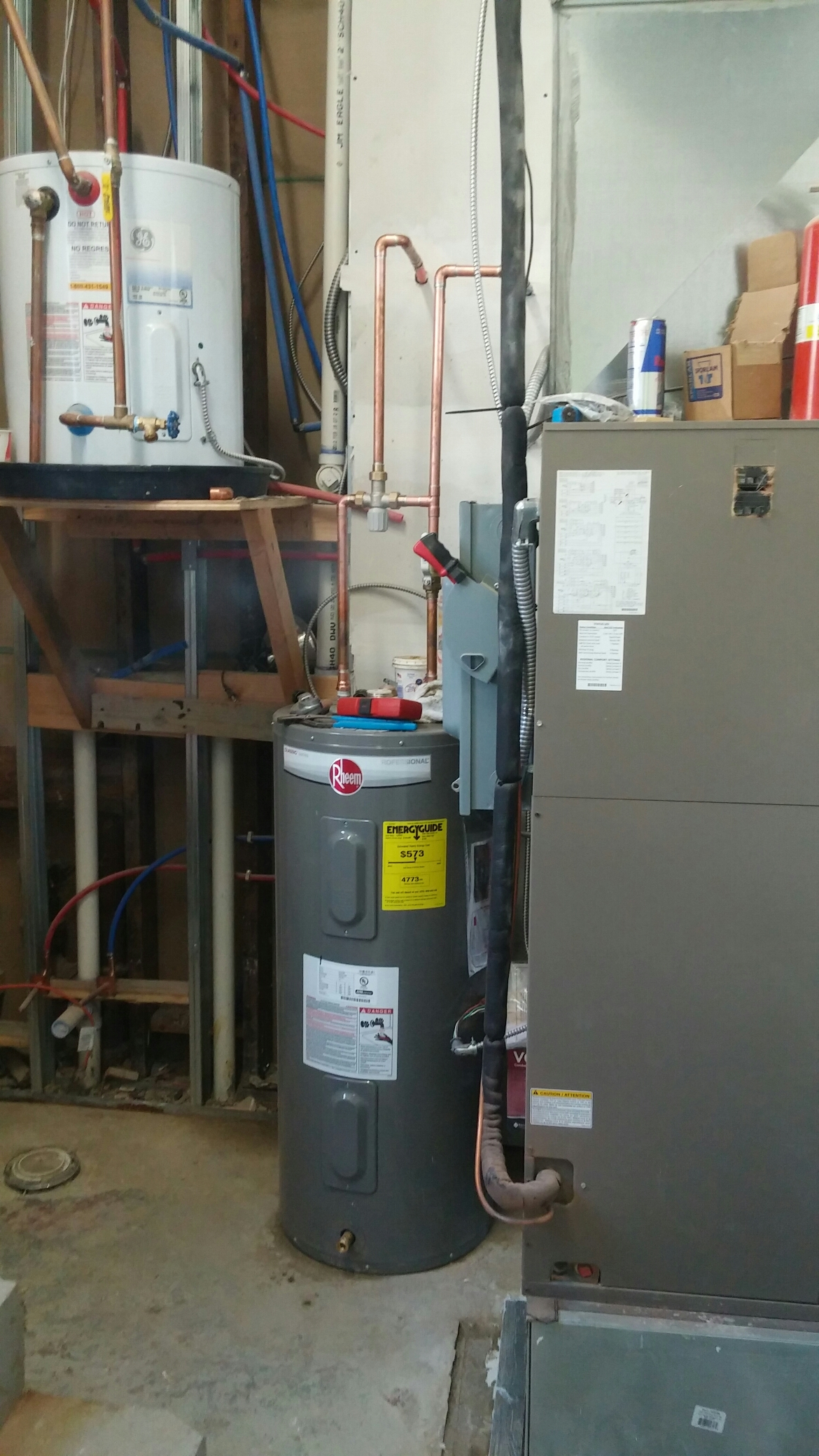 Atlantic Highlands, NJ - Installed 40 gallon electric Rheem hot water heater with Honeywell tempering valve.