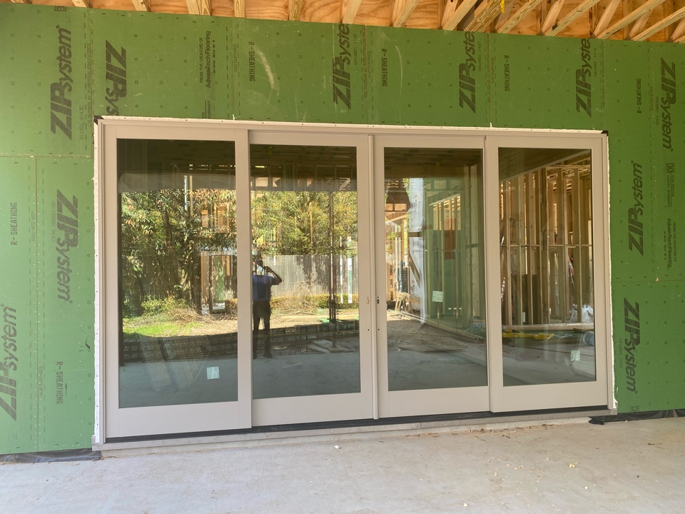 Houston, TX - Checking on window and door installation as well as plumbing progress at Reba custom spec.