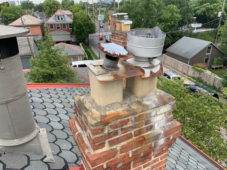 Columbus, OH - Measuring for a new stainless steel chimney hood