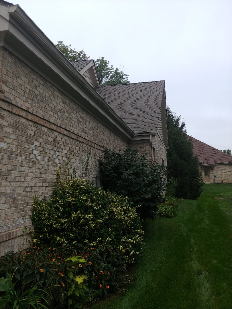 "Springboro, OH - 6"" seamless gutters with Shur Flo leaf protection gutter guards in Springboro, Ohio."